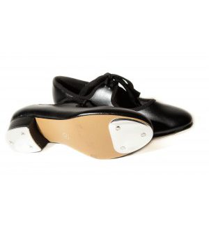 PU low heel tap shoes with fitted heel and toe taps