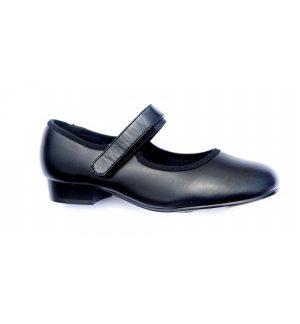 Velcro Fastening - Low Heel Tap Shoe - Black (P1 Upwards)-0